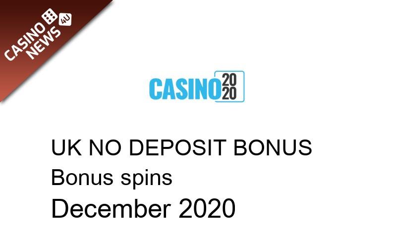 Latest bonus spins no deposit bonus for UK players from Casino 2020, 20 bonus spins no deposit UK