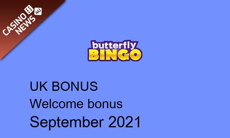 Latest Butterfly Bingo Casino bonus spins for UK players September 2021, 20 bonus spins