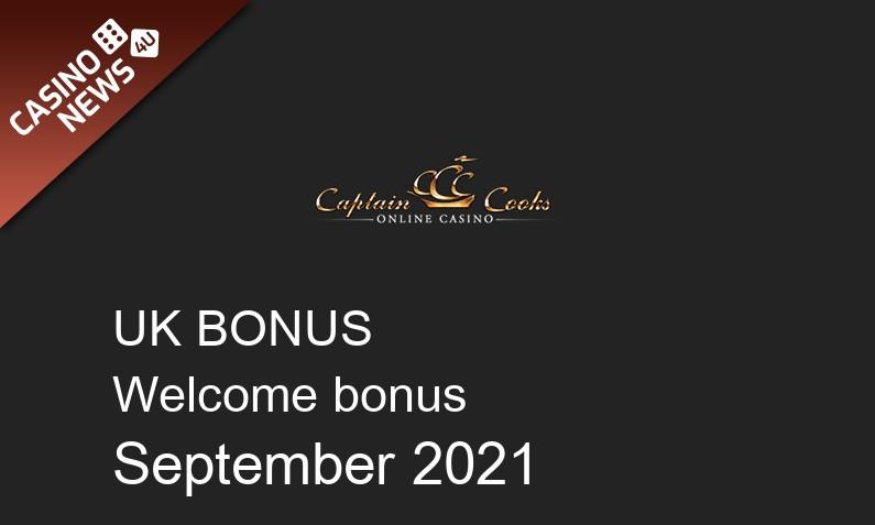 Latest Captain Cooks Casino UK bonus spins September 2021