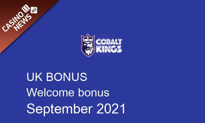 Latest Cobalt Kings Casino bonus spins for UK players September 2021, 30 bonus spins