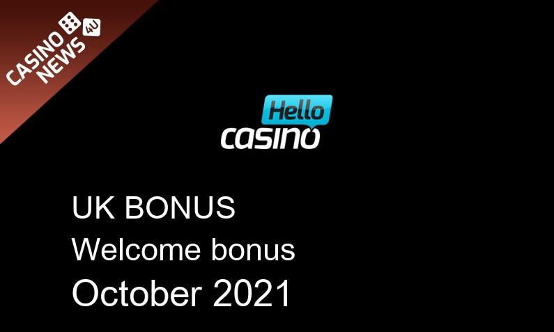 Latest Hello Casino bonus spins for UK players October 2021, 25 bonus spins