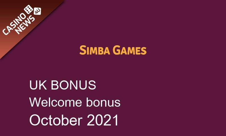 Latest SimbaGames UK bonus spins October 2021, 25 bonus spins