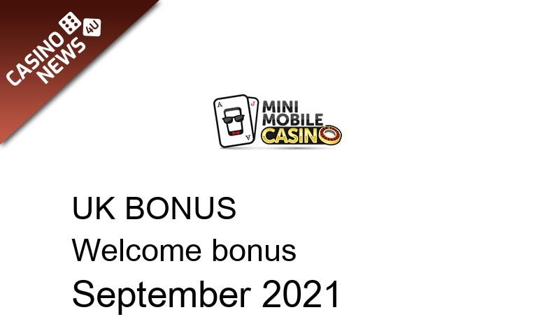 Latest UK bonus spins from Mini Mobile Casino September 2021, 50 bonus spins