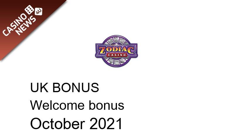 Latest UK bonus spins from Zodiac Casino October 2021, 80 bonus spins